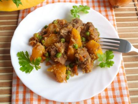 Рецепт Говядина с тыквой и овощами