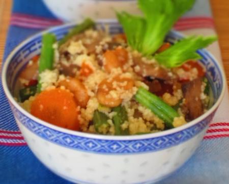 Рецепт Кускус с грибами, креветками и стручковой фасолью