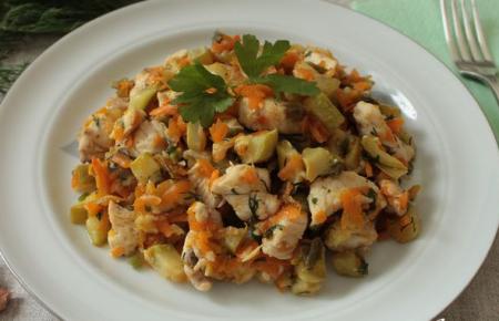 Рецепт Ароматное куриное филе с кабачками