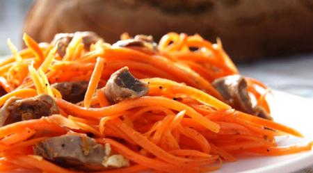 Рецепт Салат из куриных желудков и моркови по-корейски