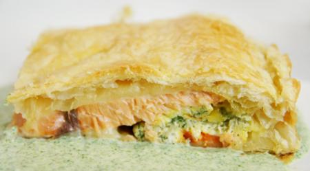 Рецепт Слоеный пирог с семгой и омлетом