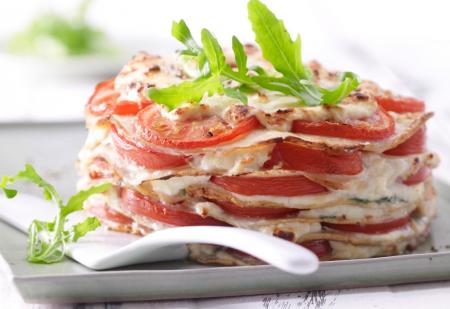 Рецепт Блинный пирог с помидорами и рикоттой
