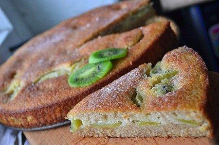 Рецепт Слоеный фруктовый пирог-кекс с киви