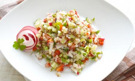 Рецепт Салат из гречки с овощами