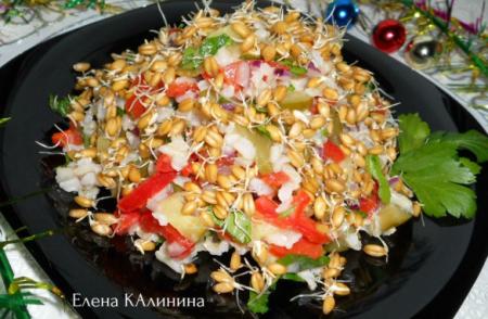 Рецепт Салат с пророщенной пшеницей и рисом