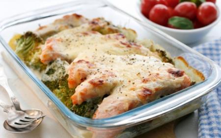 Рецепт Запеченный лосось с брокколи