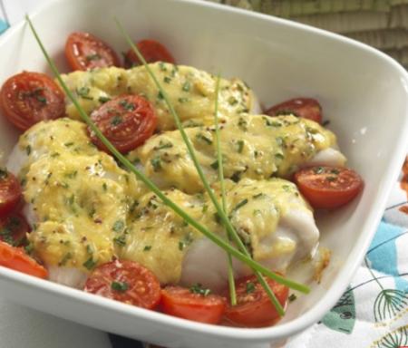 Рецепт Запеченная треска с помидорами