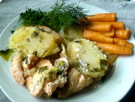 Рецепт Горбуша запеченная с картофелем