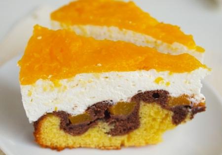 Рецепт Персиковый торт с творожным кремом и шоколадной прослойкой
