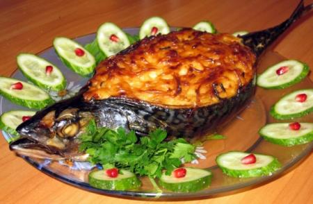 Рецепт Скумбрия с овощами запеченная