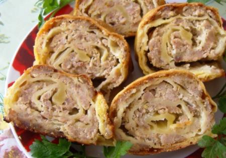 Рецепт Штрудель мясной