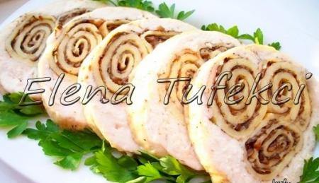 Рецепт Куриный рулет с блинами