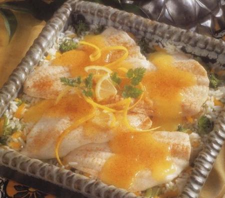 Рецепт Салат из камбалы с рисом