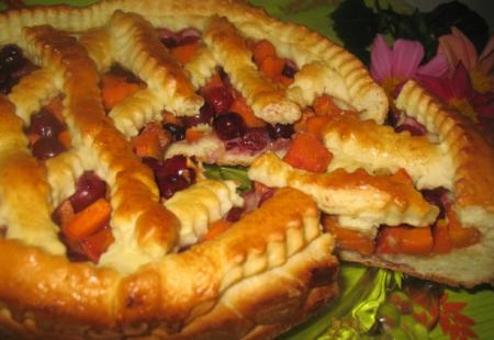 Рецепт Тыквенно-вишневый пирог
