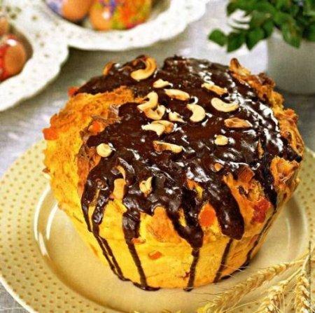 Рецепт Кулич с кешью и шоколадной глазурью