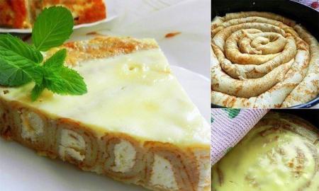 Рецепт Блинный пирог с заливкой
