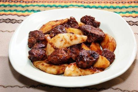 Рецепт Куриная печень с грушей