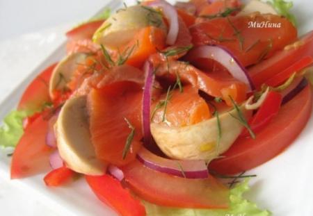 Рецепт Красная рыба с помидорами и шампиньонами