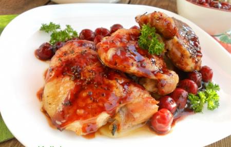 Рецепт Куриные бедрышки под вишневым соусом