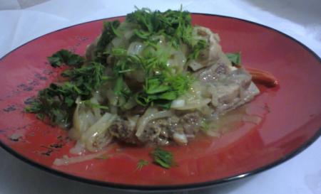 Рецепт Свинные ребрышки с луком