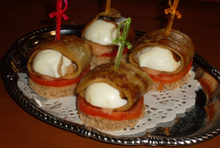 Рецепт Канапе с баклажанами