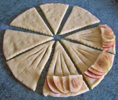 конвертики из творожного теста с яблоками рецепт с фото