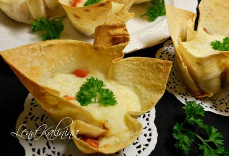 Рецепт Корзиночки из лаваша с рисово-сырным кремом