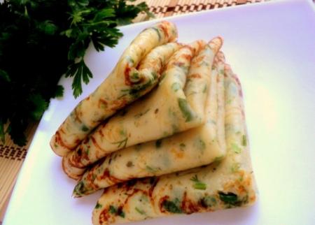 Рецепт Блины с сыром и зеленью