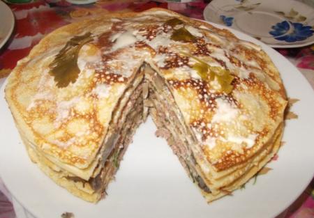 Рецепт Блинный мясной тортик