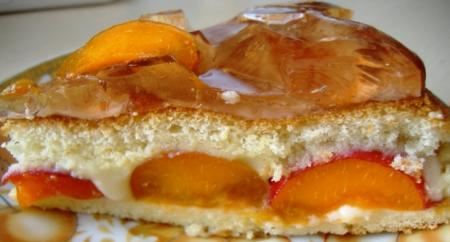 Рецепт Бисквитный тортик с желе и абрикосами