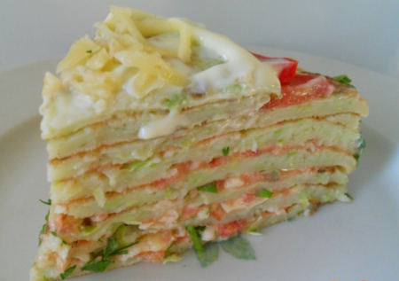 Рецепт Блинный пирог из кабачков