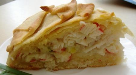 """Рецепт Пирог """"Цветочек"""" с рисом и рыбой"""