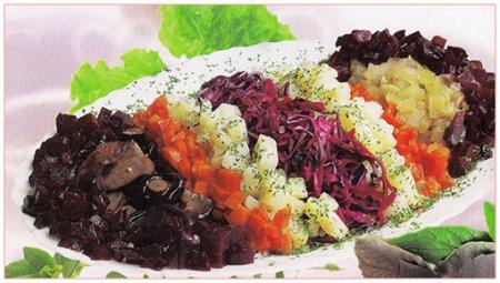 Рецепт Винегрет с грибами и краснокочанной капустой