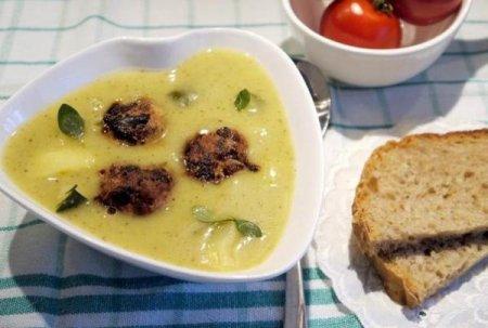 Рецепт Картофельный суп-пюре с тефтелями и зеленью