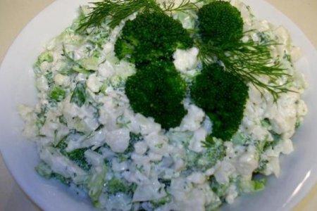 Рецепт Зеленый салат с брокколи и цветной капустой