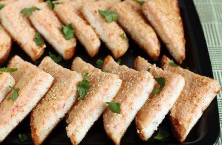 Рецепт Креветочные тосты с кунжутом