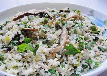 Рис с грибами и кедровыми орешками