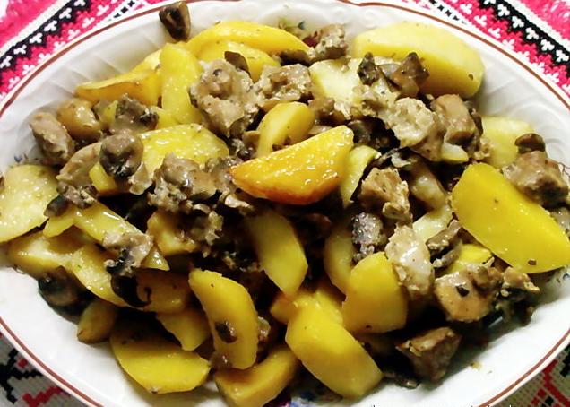 грибы с картошкой в духовке рецепт в рукаве с
