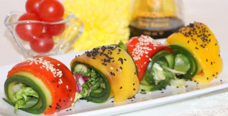 Рецепт Яркие овощные рулеты