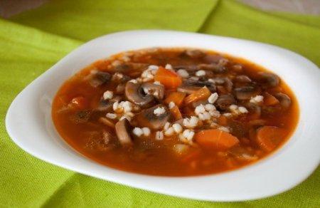 Рецепт Грибной суп с перловкой и томатной пастой