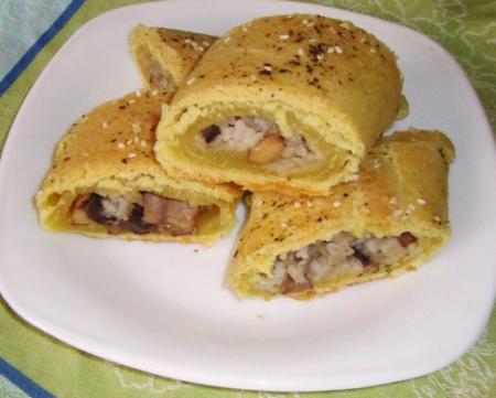 Рецепт Постный пирог с рисом и грибами