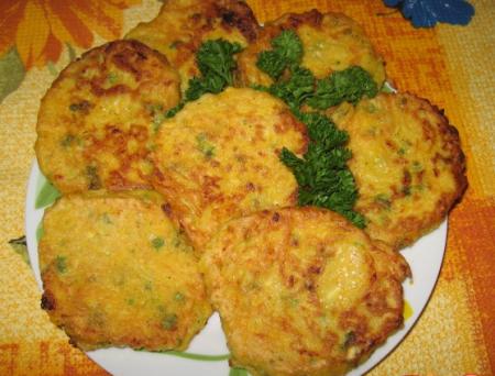 Рецепт Тыквенные оладьи с плавленными сырками