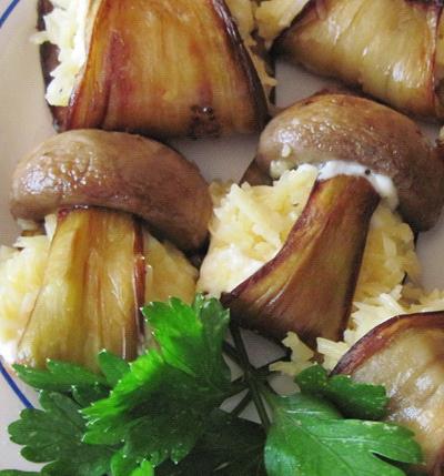 Рецепт Баклажаны с грибами и сыром