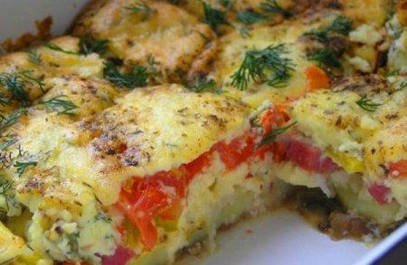 Рецепт Овощная запеканка с заливкой из плавленного сыра