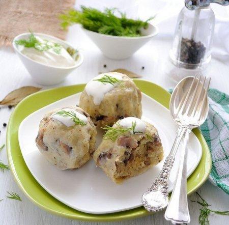 Рецепт Кнедлики с картофелем и грибами
