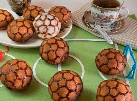 """Рецепт Пирожное """"Мячи футбольные"""" из песочного теста"""