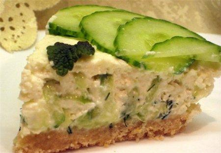 Рецепт Закусочный сырный тортик со свежим огурцом