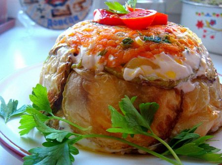Рецепт Закусочный тортик с жареными кабачками