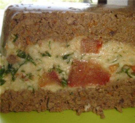 Рецепт Паштет из куриной печени с сыром и помидором