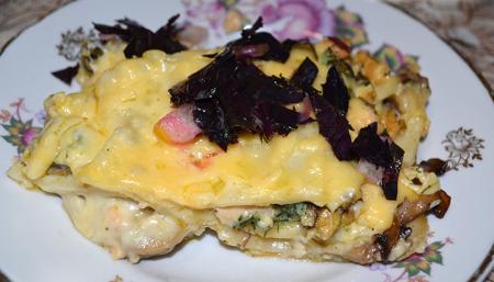 Рецепт Лазанья с морепродуктами, базиликом и лимоном под соусом бешамель